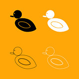 Duck set black and white icon .