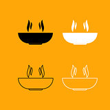 Hot dish set black and white icon .