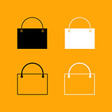 Shopping bag set black and white icon .