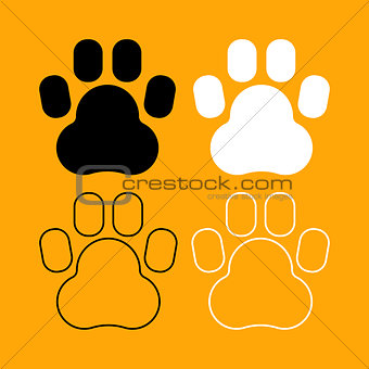 Animal footprint set black and white icon .