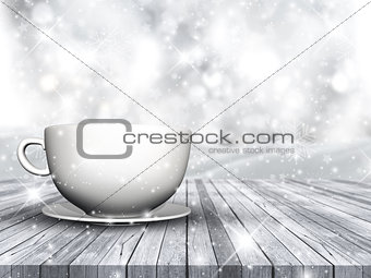 3D cup and saucer on wooden table against Christmas snowflake ba