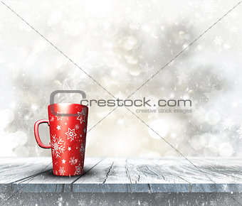 3D festive mug on wooden table with Christmas background