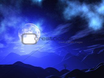 3D moonlit landscape