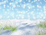 3D snowy landscape with falling snowflakes