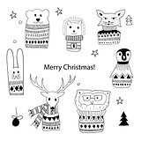 Vector Christmas  Doodle Animals