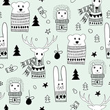 Vector Seamlee Christmas Pattern with Doodle Animals