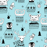Vector Seamless Pattern with  Doodle Animals