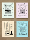 Vector Christmas Greeting Cards with Doodle Animals
