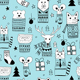 Vector Seamless Christmas Pattern with Doodle Animals