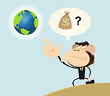 Gorilla Businessman Wanting to Make Money With Earth