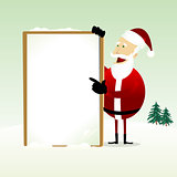 Merry Christmas : Happy Santa Claus Holding a Blank Sign