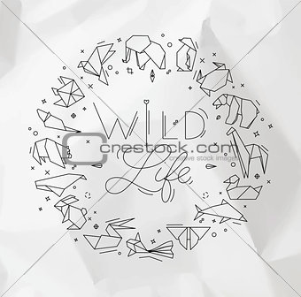 Animals origami monogram