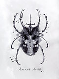 Monotype horned beetle black