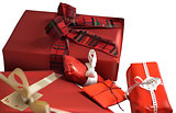 Red Christmas Gifts on White Background