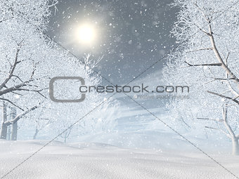 3D snowy winter landscape