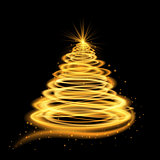 Gold glowing Christmas tree