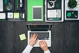Flat lay business desktop
