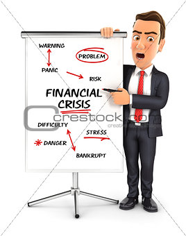 3d businessman writing financial crisis on paperboard