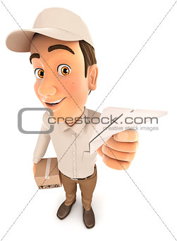 3d delivery man holding paper airplane