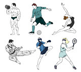 Set of six sports