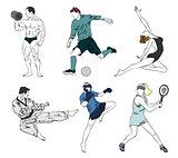 Set of six sports