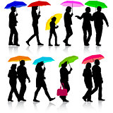 Color silhouettes man and woman under umbrella. Vector illustrat