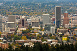 Portland Downtown Cityscape in Fall Season