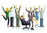 Business people celebrating a victory, business success, illustration