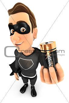 3d black hero holding battery