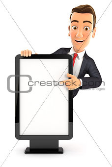 3d businessman pointing to blank billboard