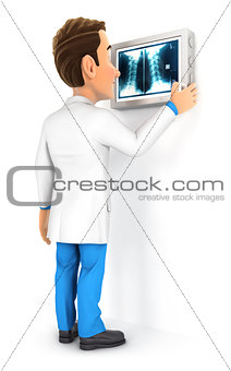 3d doctor examining x-ray