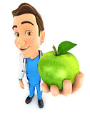 3d doctor holding green apple
