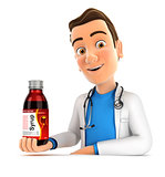 3d doctor presenting big syrup bottle