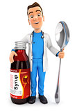 3d doctor standing next to syrup bottle