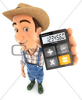 3d farmer holding calculator