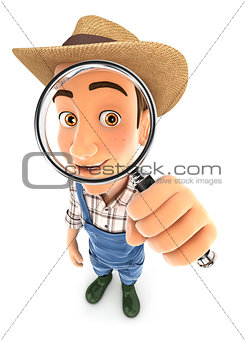 3d farmer looking into a magnifying glass