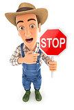 3d farmer stop sign