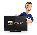 3d french soccer fan with 4K ultra HD television