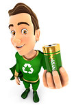 3d green hero holding recyclable battery