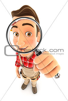 3d handyman looking into a magnifying glass
