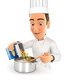 3d head chef cooking pasta