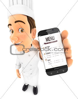 3d head chef holding smartphone