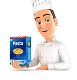 3d head chef presenting pack of pasta