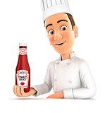 3d head chef presenting tomato sauce bottle
