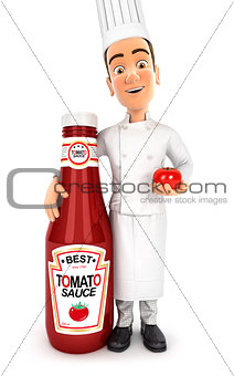 3d head chef standing next to tomato sauce bottle