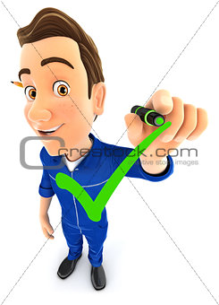 3d mechanic drawing positive check mark