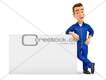 3d mechanic leaning against white wall