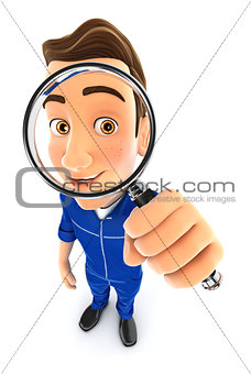 3d mechanic looking into a magnifying glass