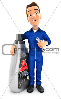 3d mechanic standing next to oil motor canister