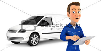 3d mechanic with notepad in front of car